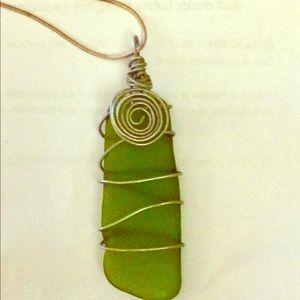 Handmade genuine cape cod sea glass pendants
